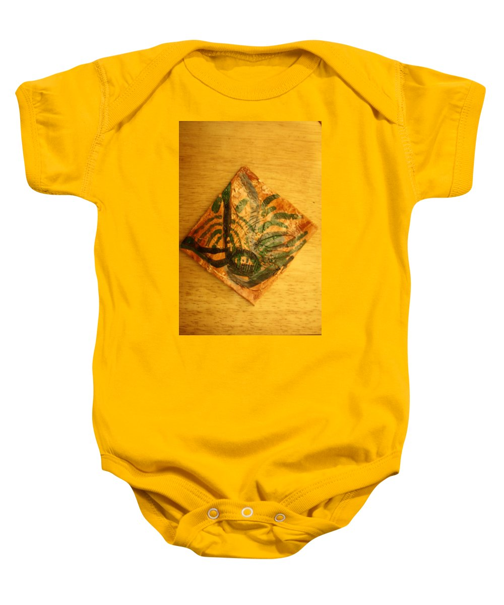 Jesus Baby Onesie featuring the ceramic art Sweethearts - Tile by Gloria Ssali