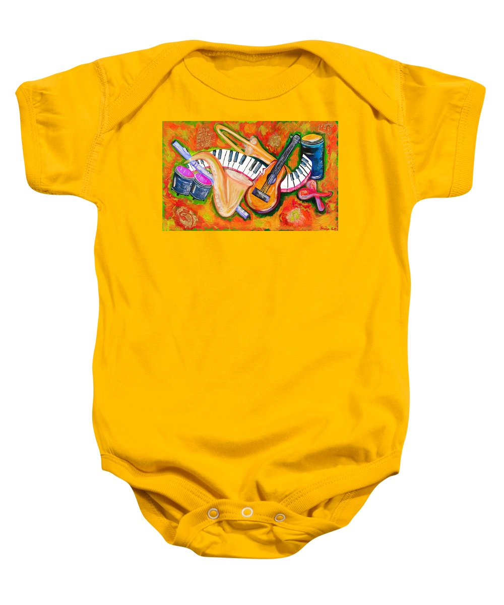 Symphony Baby Onesie featuring the painting Symphony Of The Soul by Jessilyn Park