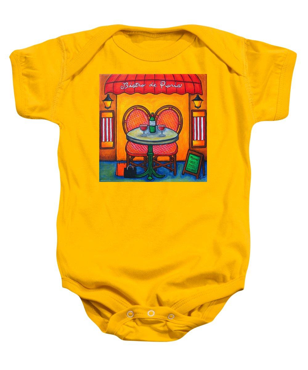 Paris Baby Onesie featuring the painting Table For Two In Paris by Lisa Lorenz