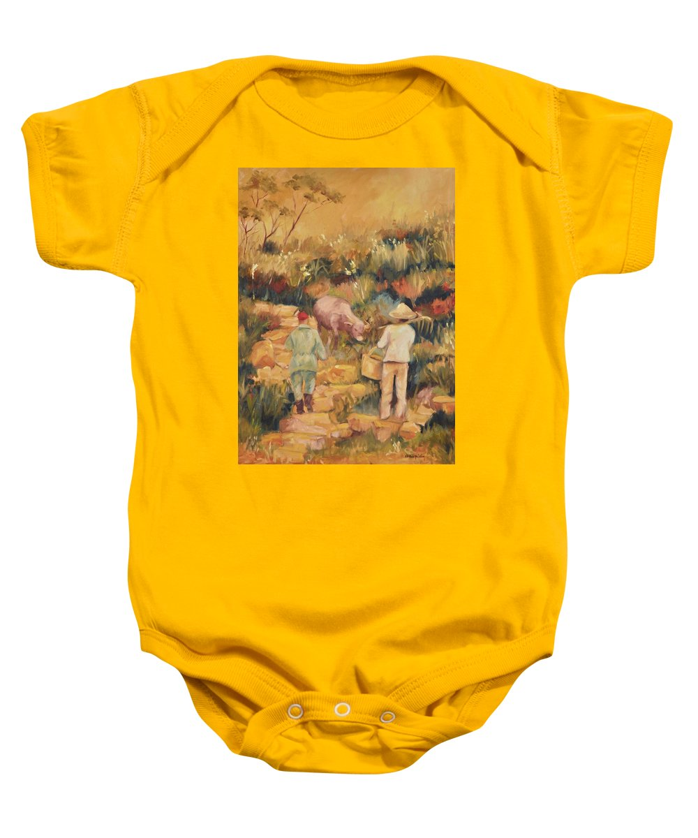 Water Buffalo Baby Onesie featuring the painting Taipei Buffalo Herder by Ginger Concepcion