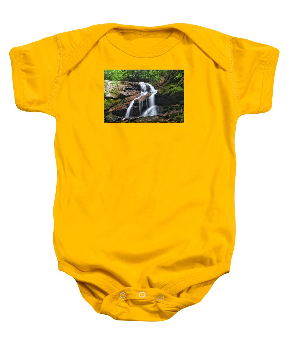Tanasee Creek Baby Onesie featuring the photograph Upper Dill Falls by Chris Berrier