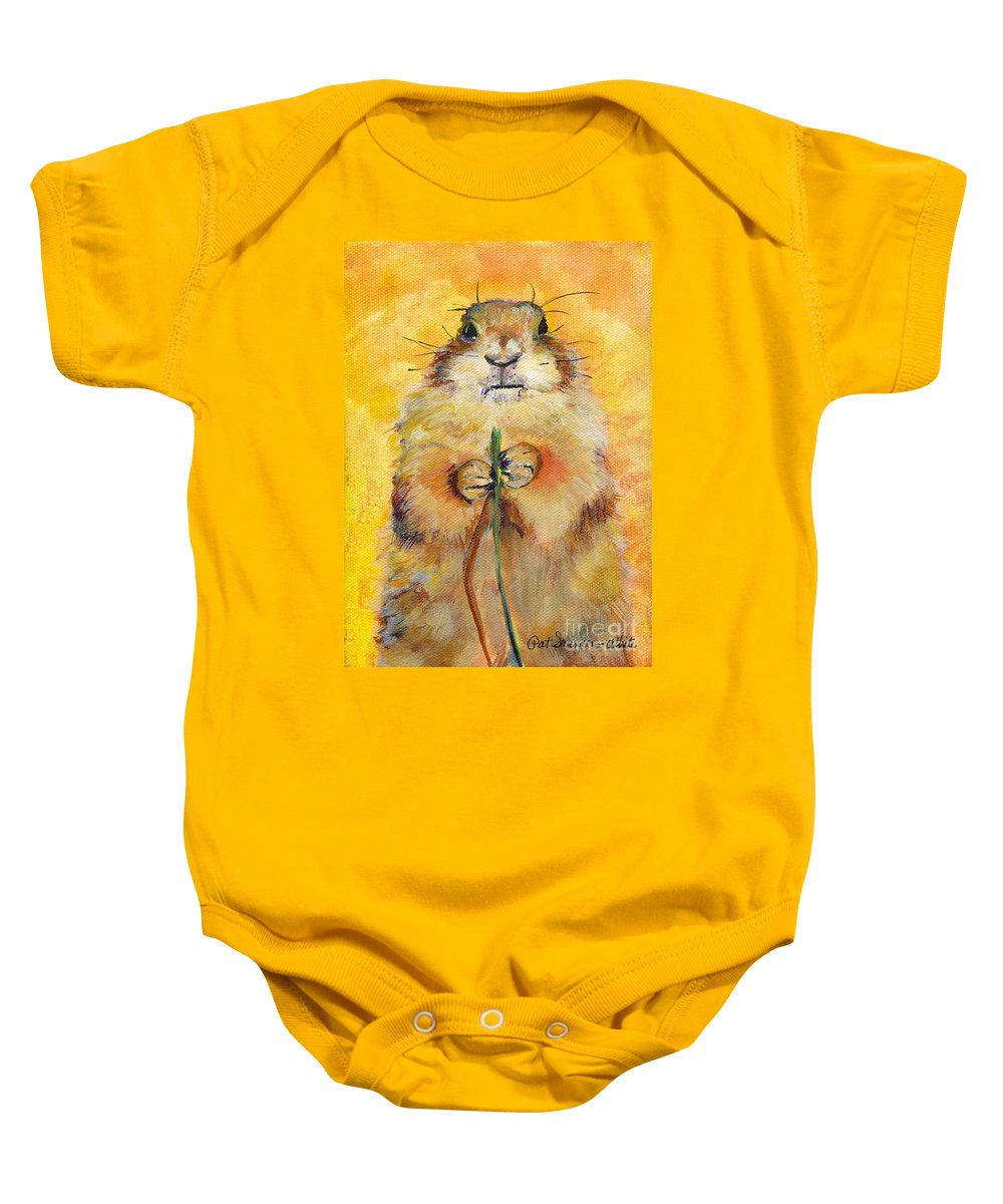 Prairie Dog Painting Baby Onesie featuring the painting Target by Pat Saunders-White