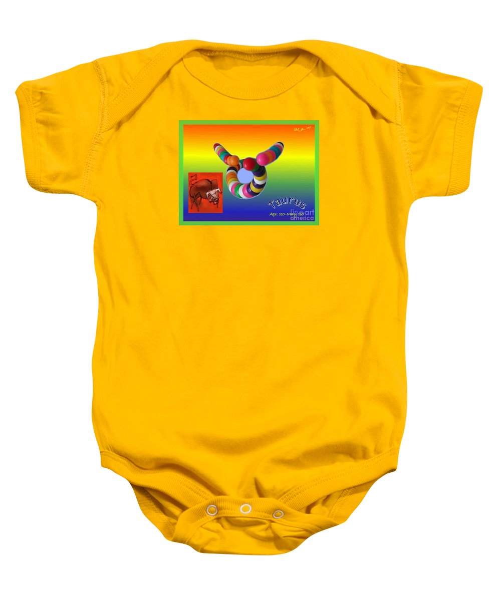 Taurus Baby Onesie featuring the painting Taurus by The Art of Alice Terrill