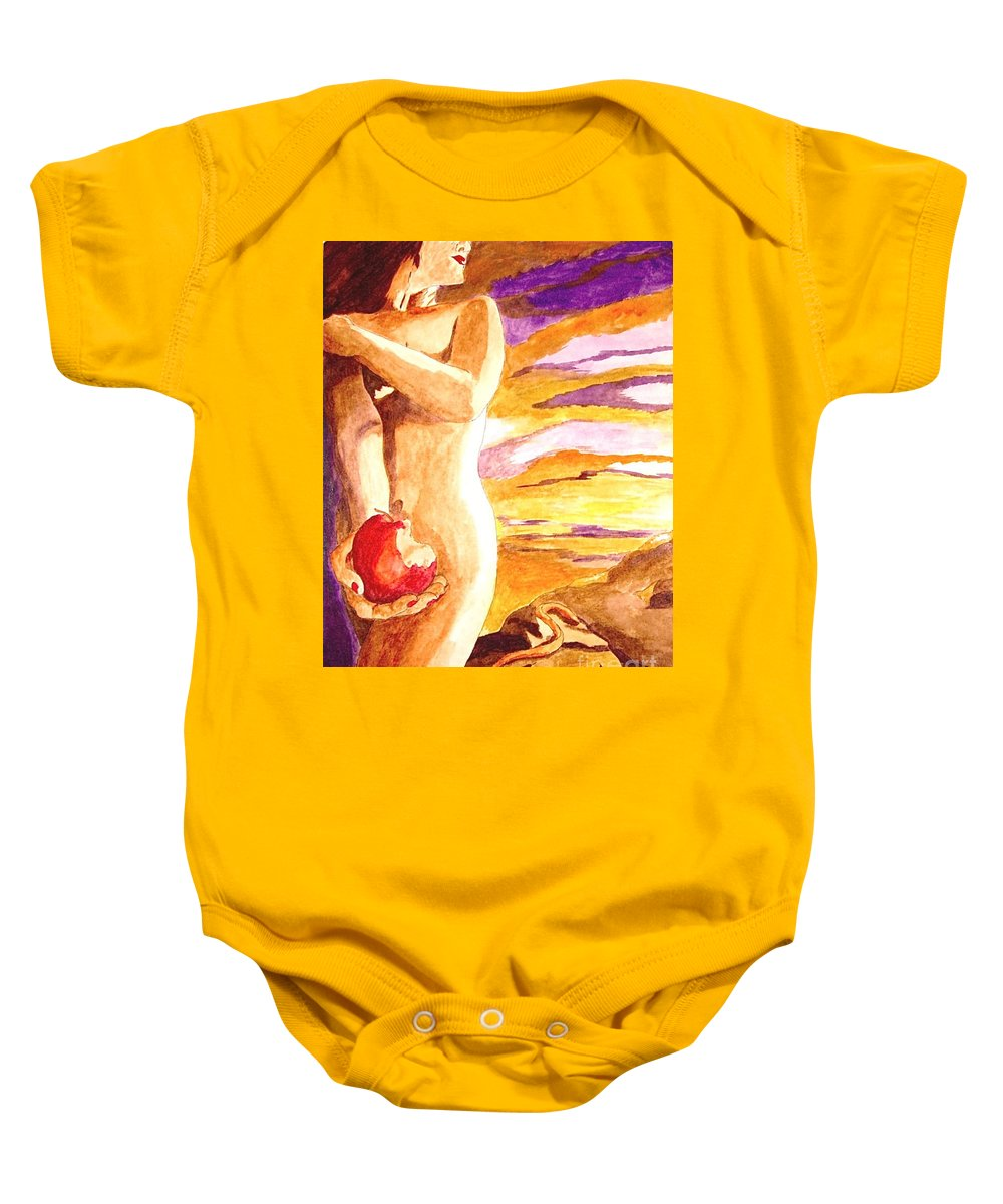 Watercolor Baby Onesie featuring the painting Temptation by Herschel Fall
