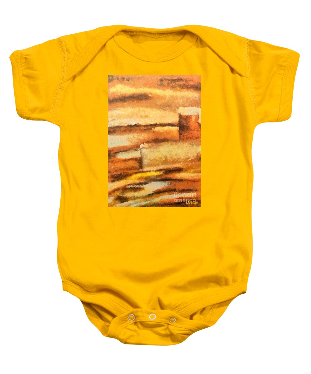 Mixed Media Baby Onesie featuring the mixed media Terra Rossa by Dragica Micki Fortuna