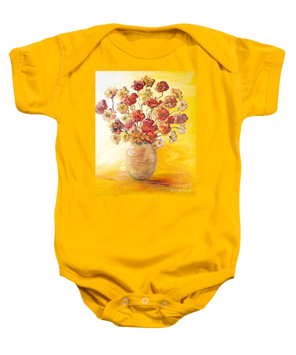 Flowers Baby Onesie featuring the painting Textured Flowers In A Vase by Nadine Rippelmeyer