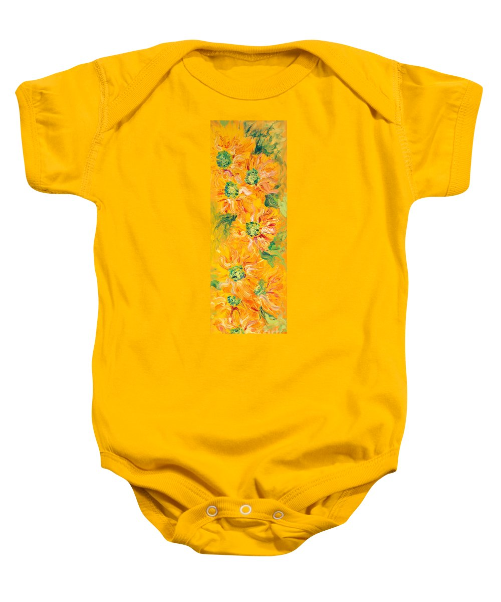 Yellow Baby Onesie featuring the painting Textured Yellow Sunflowers by Nadine Rippelmeyer