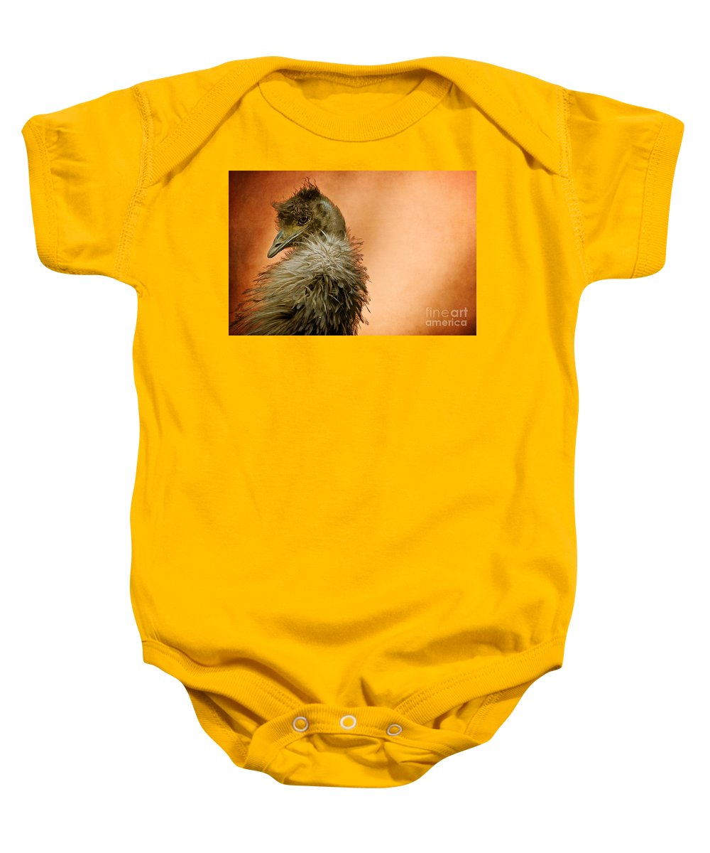 Emu Baby Onesie featuring the photograph That Shy Come-hither Stare by Lois Bryan