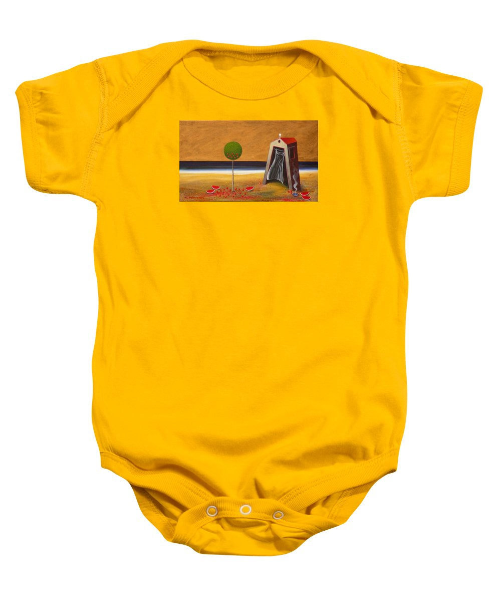 Astronomy Baby Onesie featuring the painting the Buff House by Dimitris Milionis
