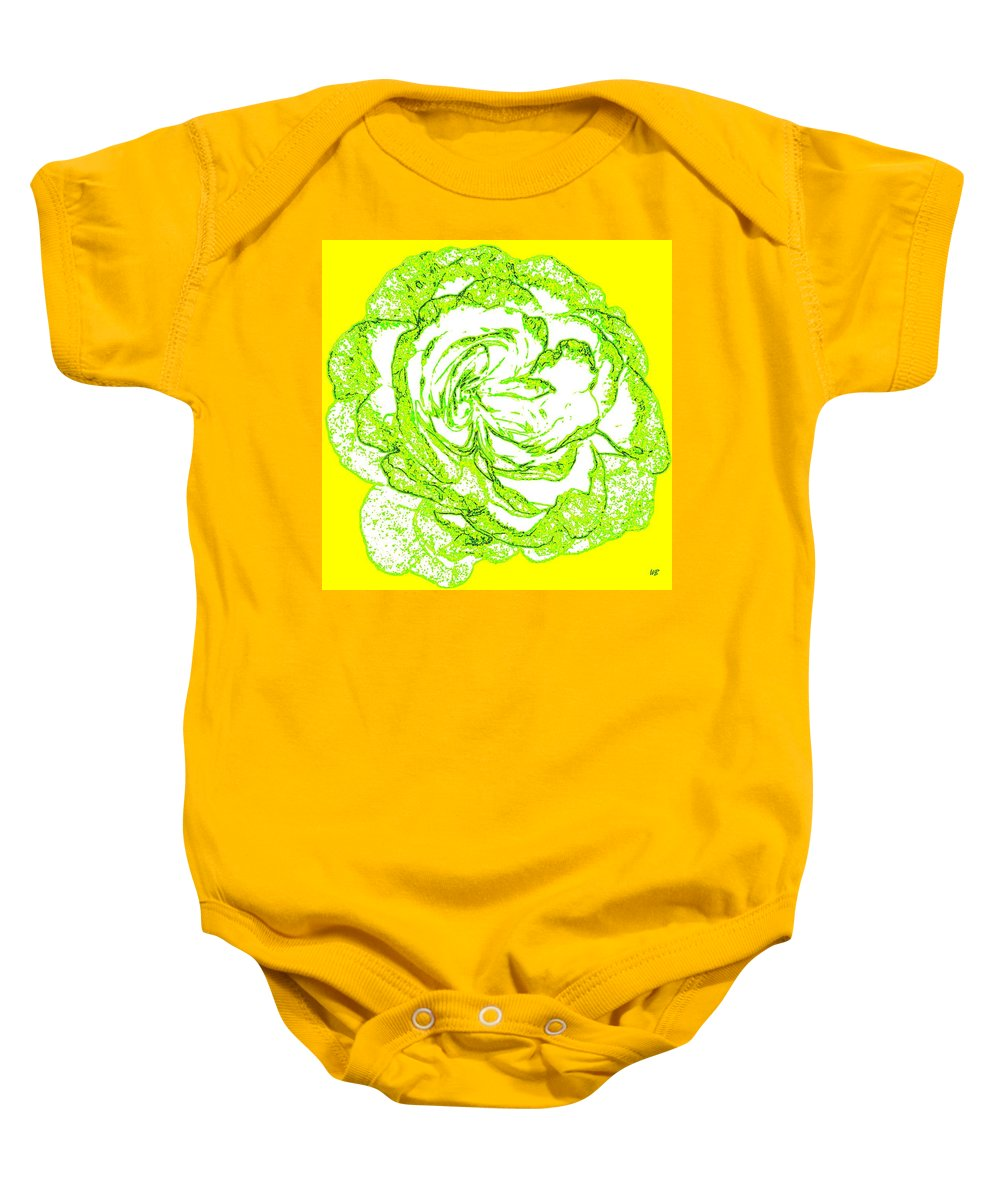 Abstract Baby Onesie featuring the digital art The Cabbage Rose by Will Borden