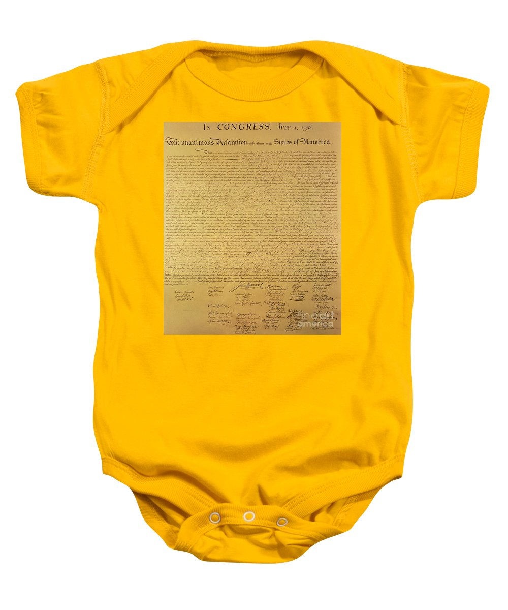Declaration Of Independence Of The 13 United States Of America Of 1776 Baby Onesie featuring the painting The Declaration Of Independence by Founding Fathers
