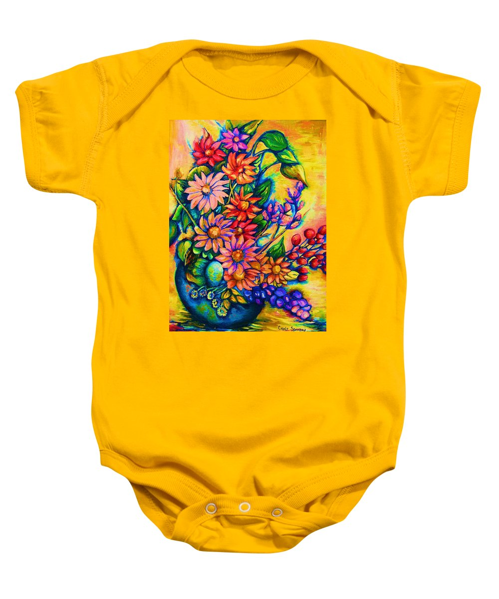 Beautiful Flowers.floral Bouquet Baby Onesie featuring the painting The Flower Dance by Carole Spandau