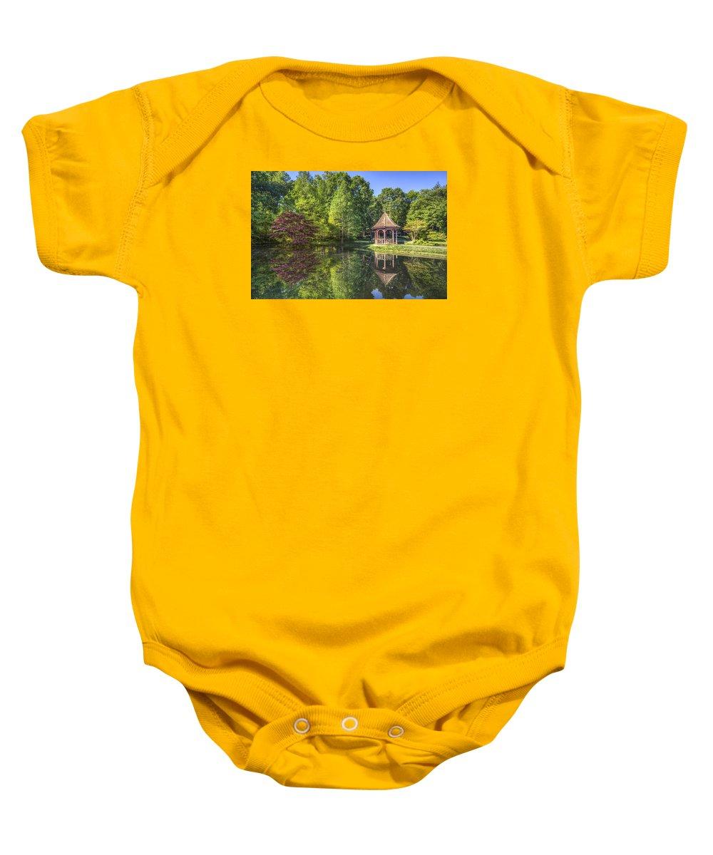 Appalachia Baby Onesie featuring the photograph The Garden Gazebo by Debra and Dave Vanderlaan