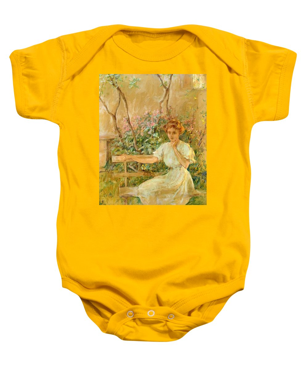 The Baby Onesie featuring the painting The Garden Seat 1911 by Reid Robert Lewis