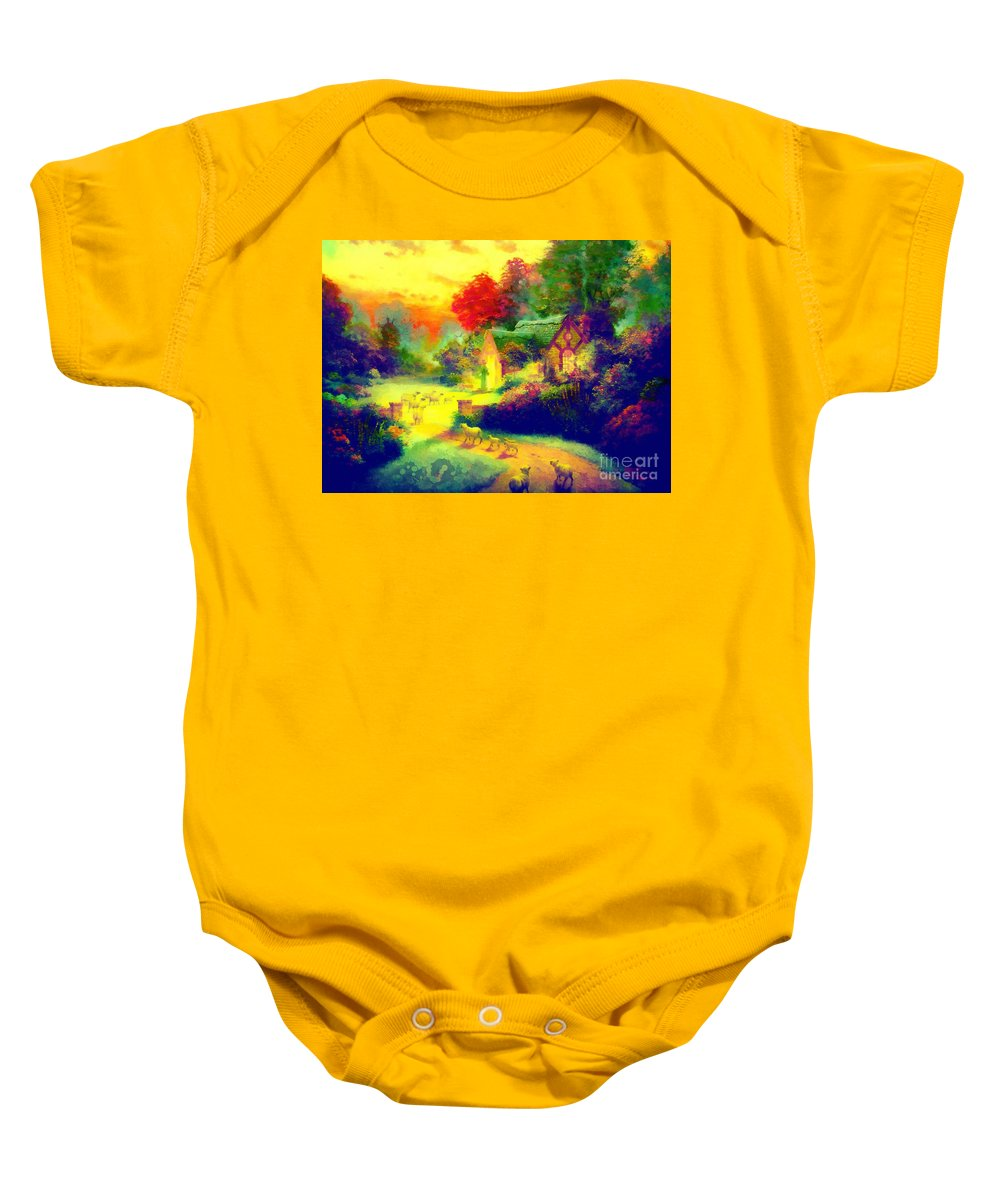 The Good Shepherd Painting In Hotty Totty Baby Onesie featuring the painting The Good Shepherd Painting In Hotty Totty by Catherine Lott