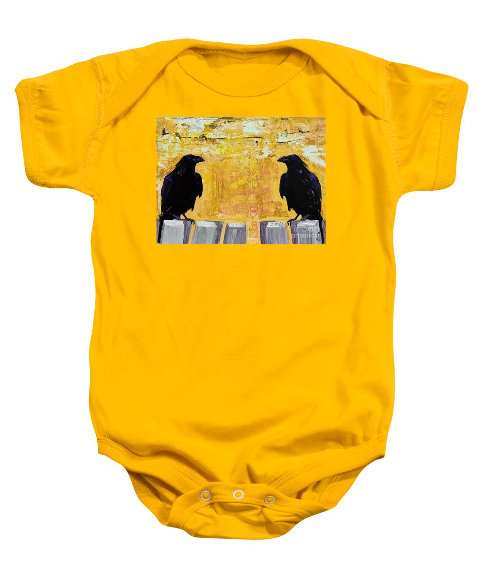 Abstract Realism Baby Onesie featuring the painting The Gossips by Pat Saunders-White