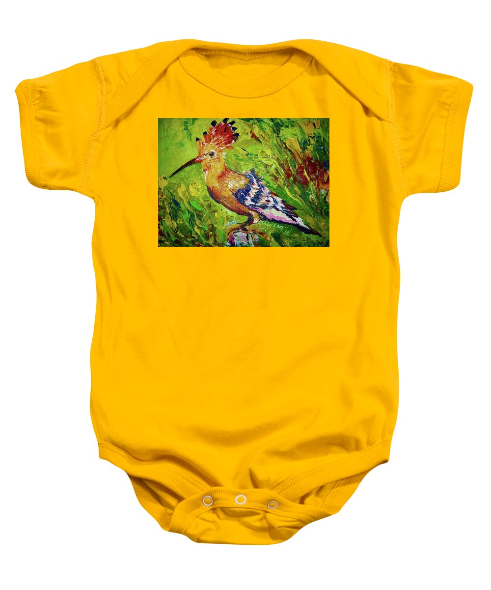 Bird Baby Onesie featuring the painting The Hoopoe by Maria Rom