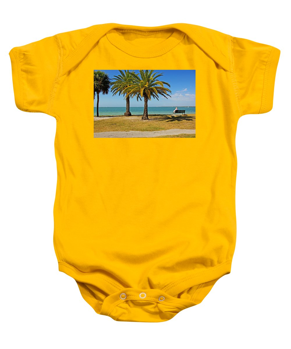 Sea Baby Onesie featuring the photograph The Joy Of Sea And Palms by Zal Latzkovich