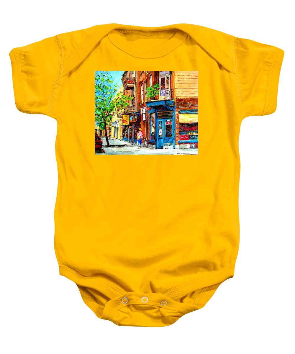 Wilenskys Baby Onesie featuring the painting The Lady In Pink by Carole Spandau