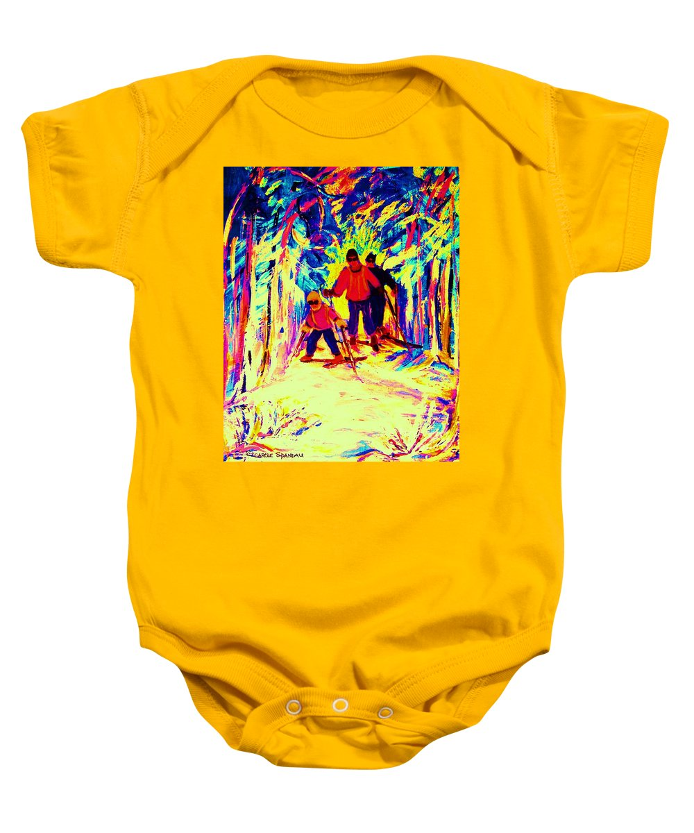 Skis Baby Onesie featuring the painting The Magical Skis by Carole Spandau