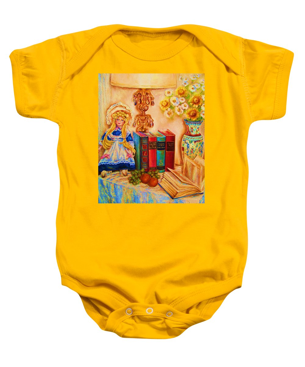 The Bible Baby Onesie featuring the painting The Open Book by Carole Spandau