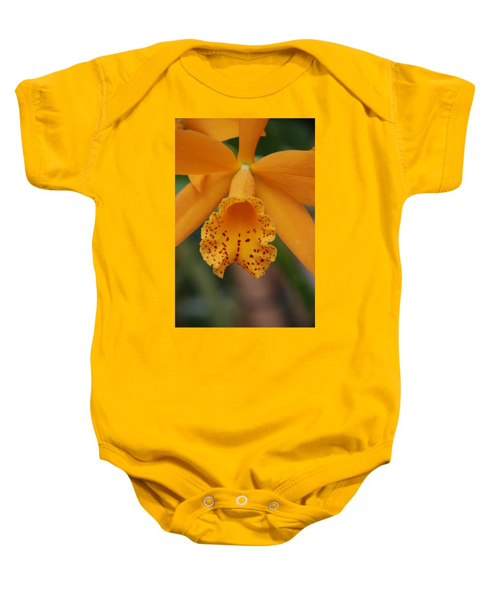 Yellow Baby Onesie featuring the photograph The Orange Orchid by Rob Hans