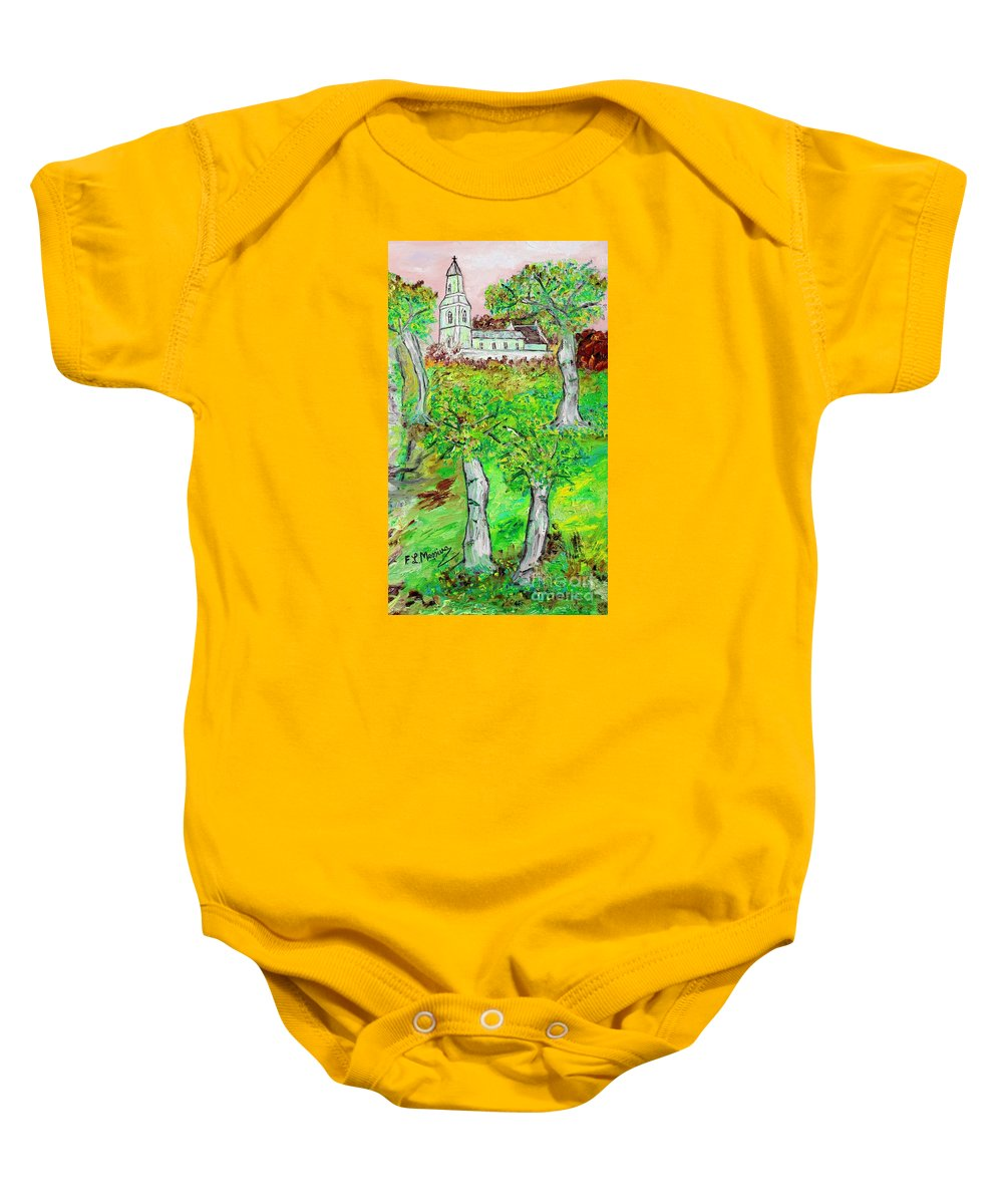 Oil Painting Baby Onesie featuring the painting The Parish Curch by Loredana Messina