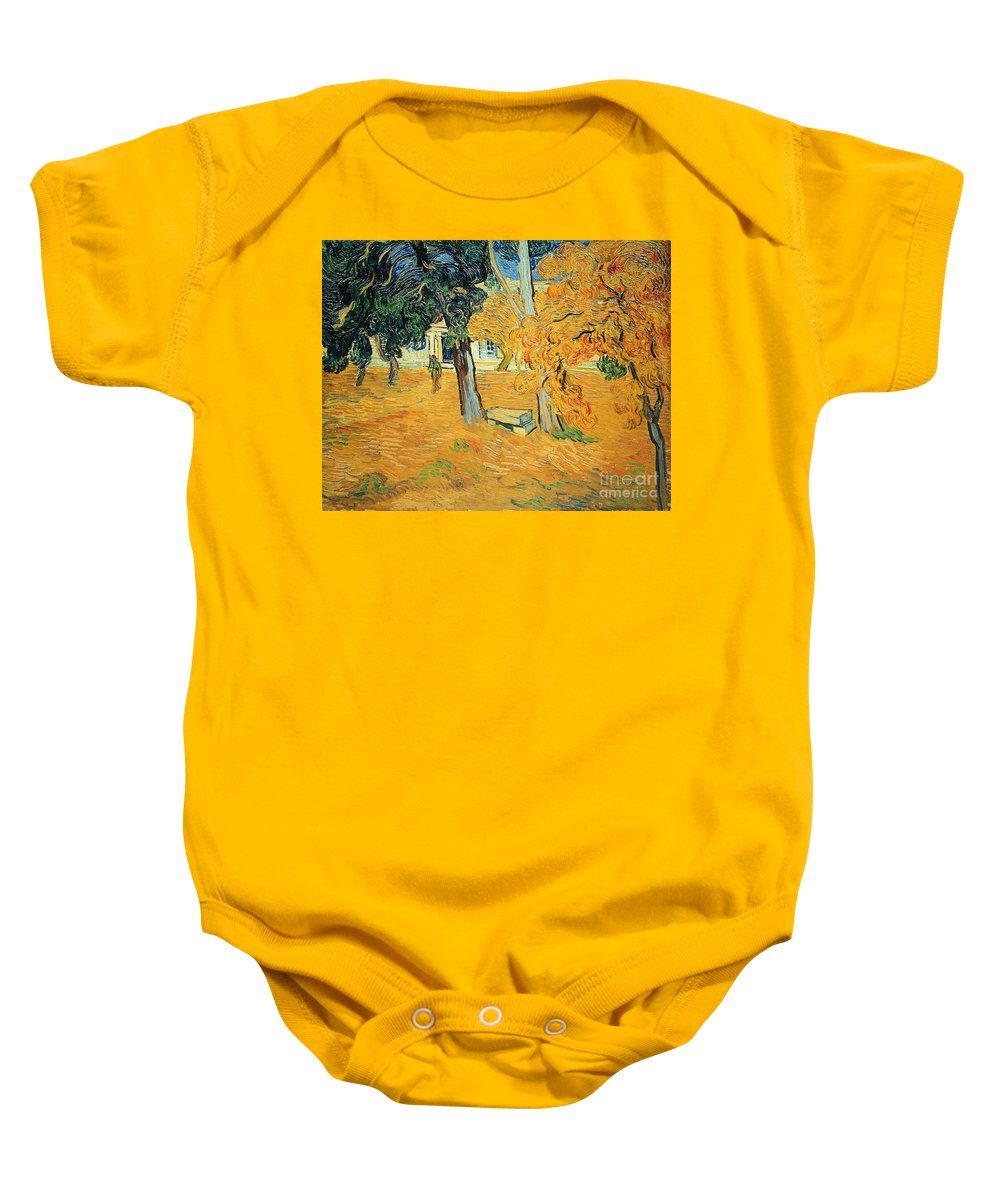 The Baby Onesie featuring the painting The Park At Saint Pauls Hospital Saint Remy by Vincent van Gogh
