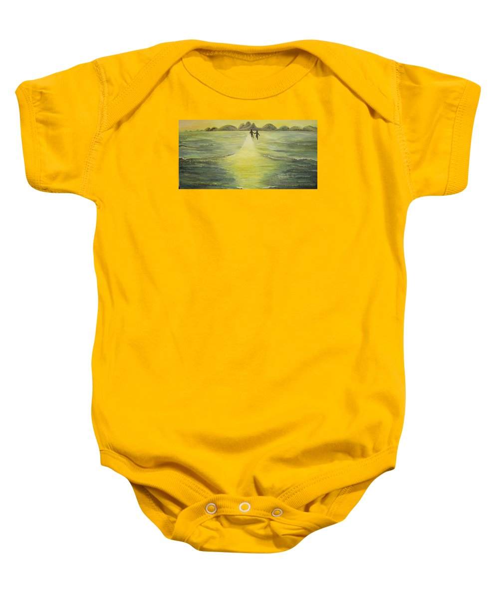Soul Baby Onesie featuring the painting The Road In The Ocean Of Light by Karina Ishkhanova