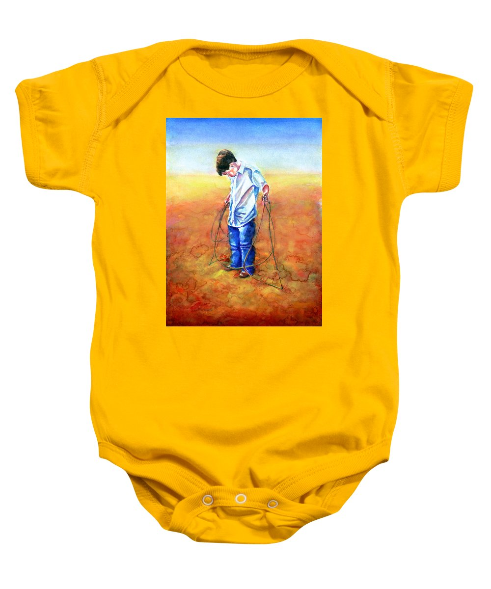 Child Baby Onesie featuring the painting The Roping Lesson by Shannon Grissom