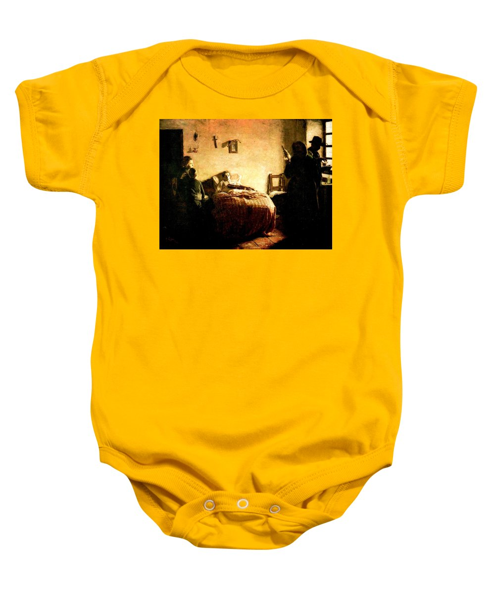 The Sick Violinist Baby Onesie featuring the painting The Sick Violinist by Rojas Poleo