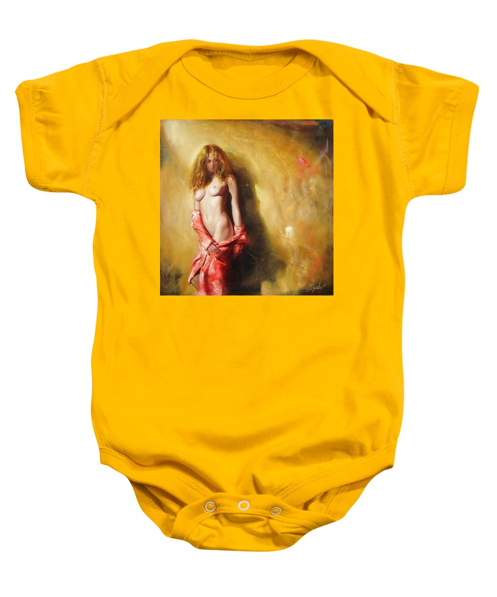 Art Baby Onesie featuring the painting The Sun In Red by Sergey Ignatenko
