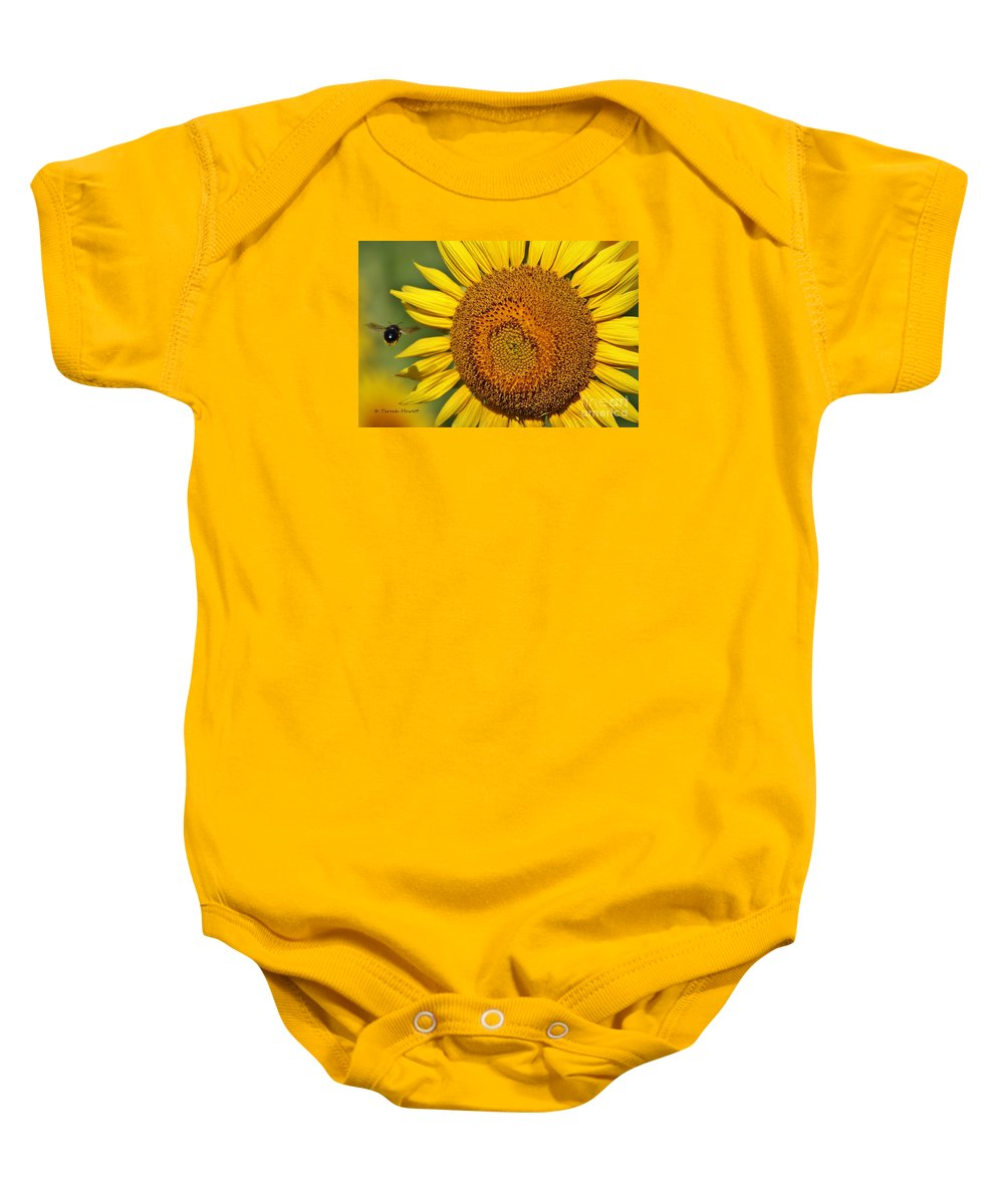 Sunflower Baby Onesie featuring the photograph The Sunflower And The Bee by Terrah Hewett