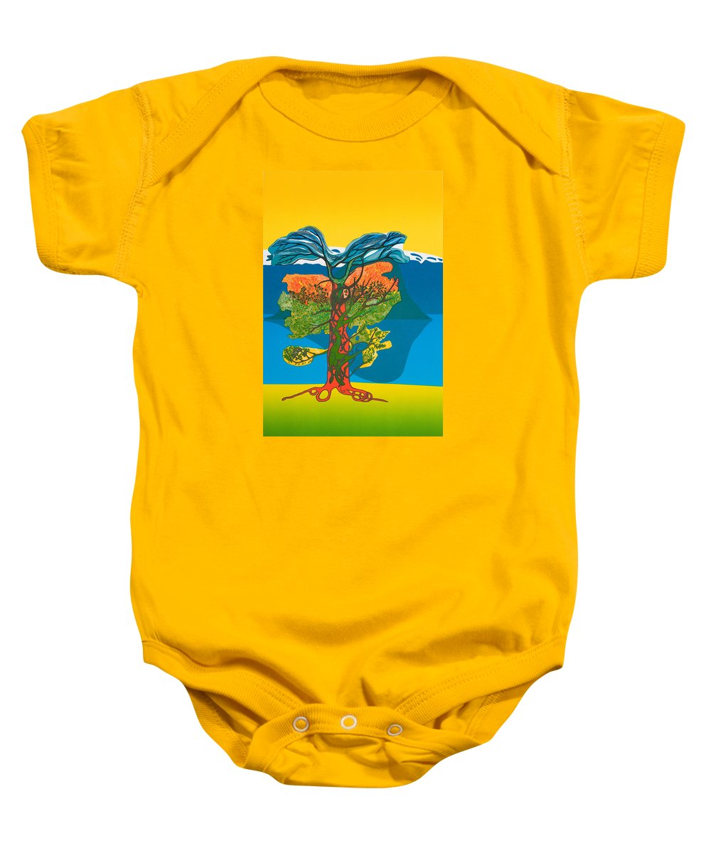Landscape Baby Onesie featuring the mixed media The Tree Of Life. From The Viking Saga. by Jarle Rosseland