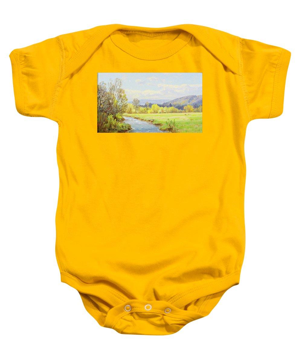 William Trost Richards 1833 - 1905 The Valley Stream Baby Onesie featuring the painting The Valley Stream by William Trost