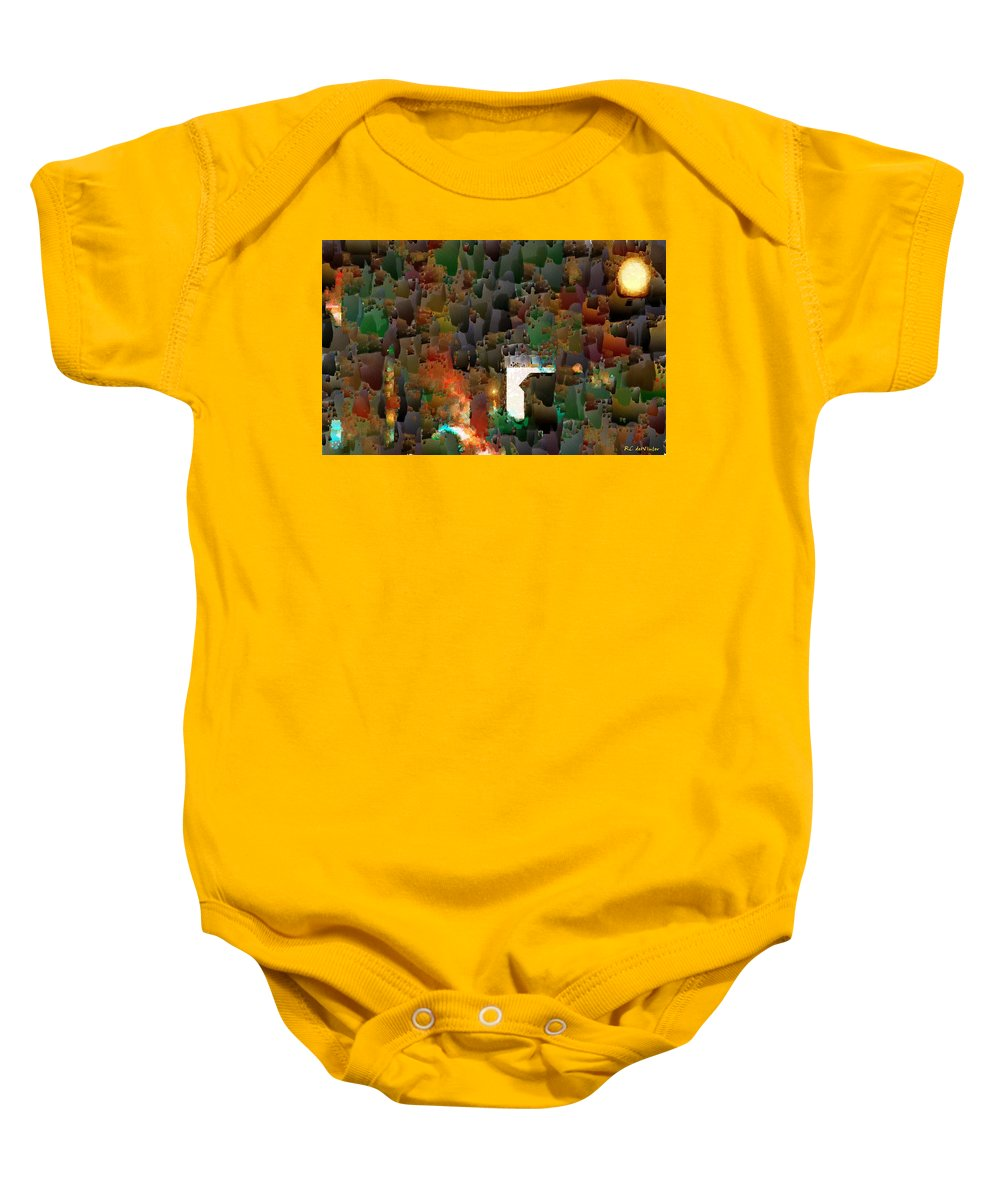 Semi-abstract Baby Onesie featuring the painting This Little Light Of Mine by RC DeWinter