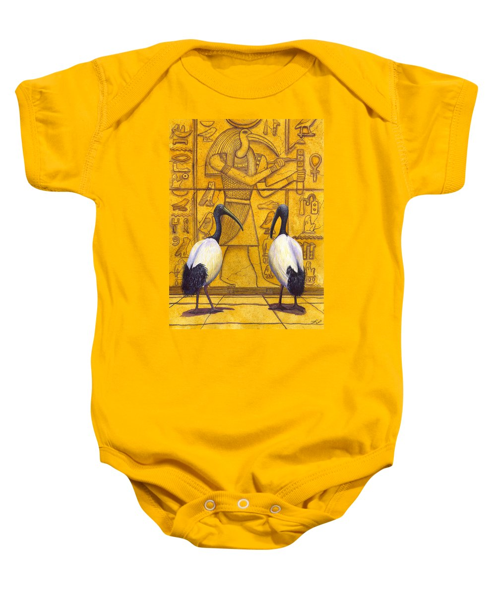 Ibis Baby Onesie featuring the painting Thoth by Catherine G McElroy