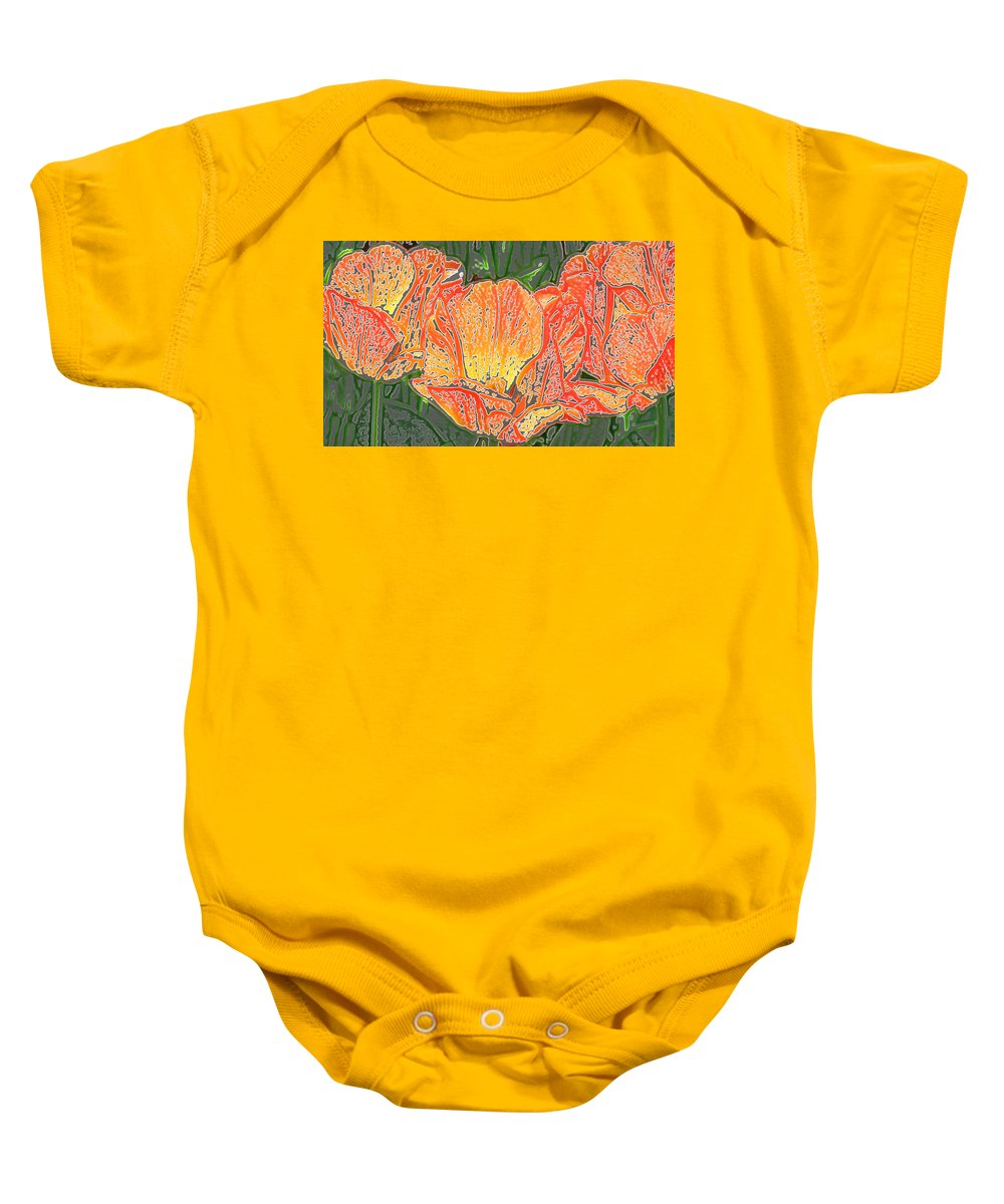 Sherwood Gardens Baby Onesie featuring the photograph Three Tulips by Donna Haggerty