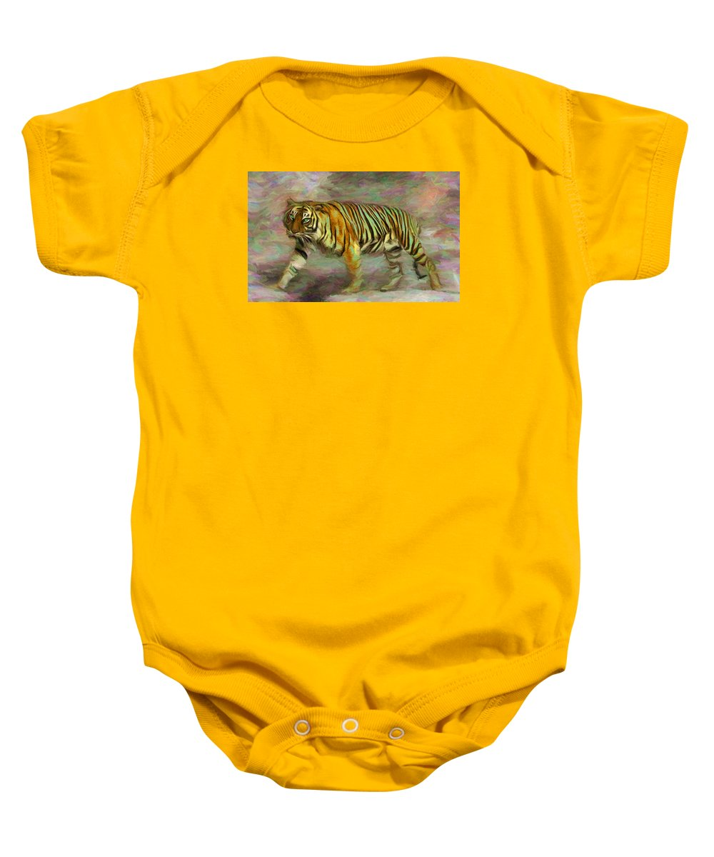 Save Tiger Baby Onesie featuring the digital art Save Tiger by Caito Junqueira