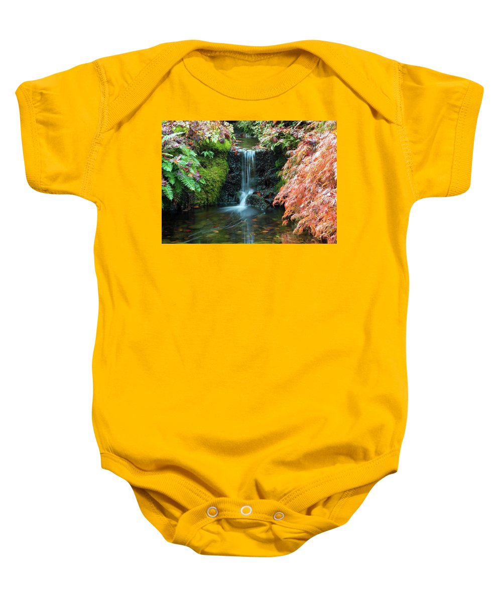 Outdoor Baby Onesie featuring the photograph Tiny Waterfall In Japanese Garden.the Butchart Gardens,victoria.canada. by Andrew Kim