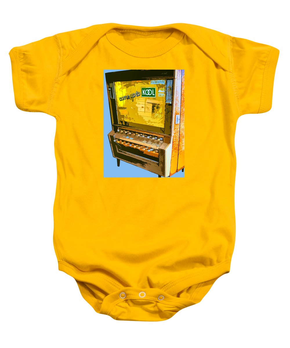 Cigarette Machine Baby Onesie featuring the photograph Too Kool by Dominic Piperata