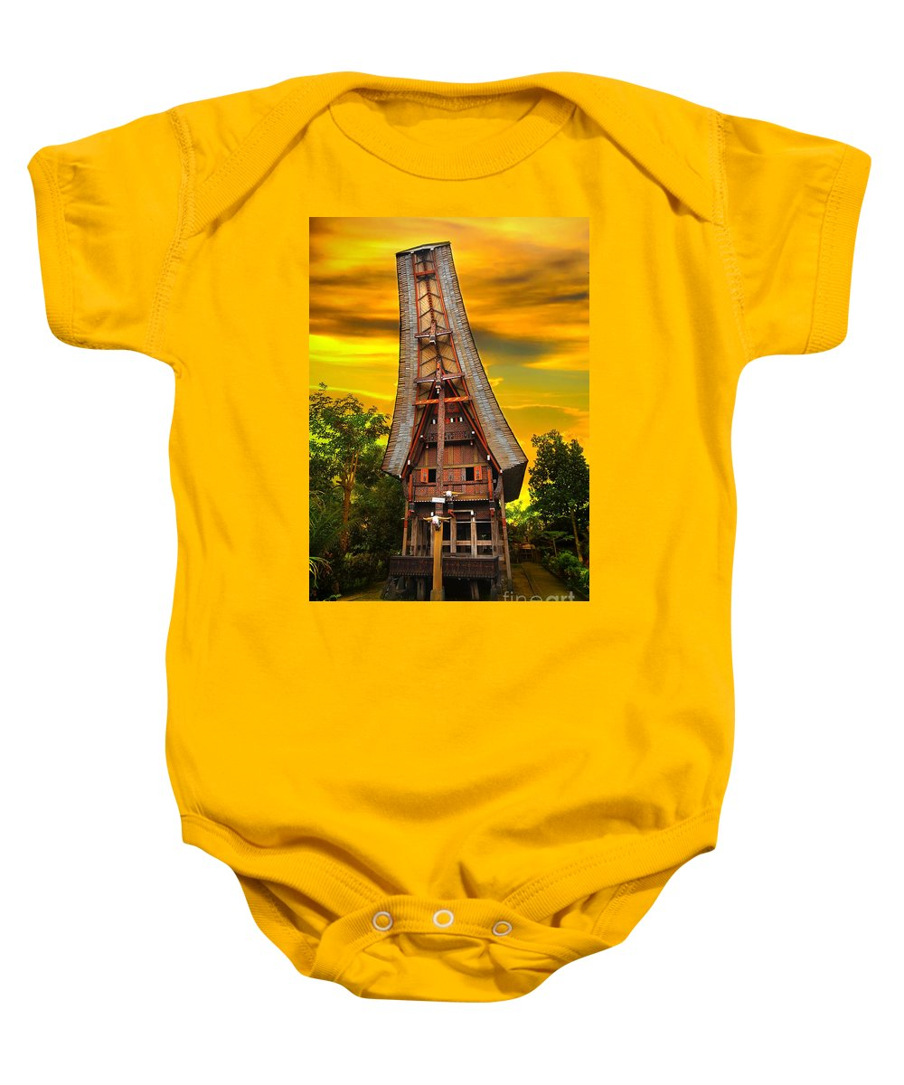 Toraja Baby Onesie featuring the photograph Toraja Architecture by Charuhas Images