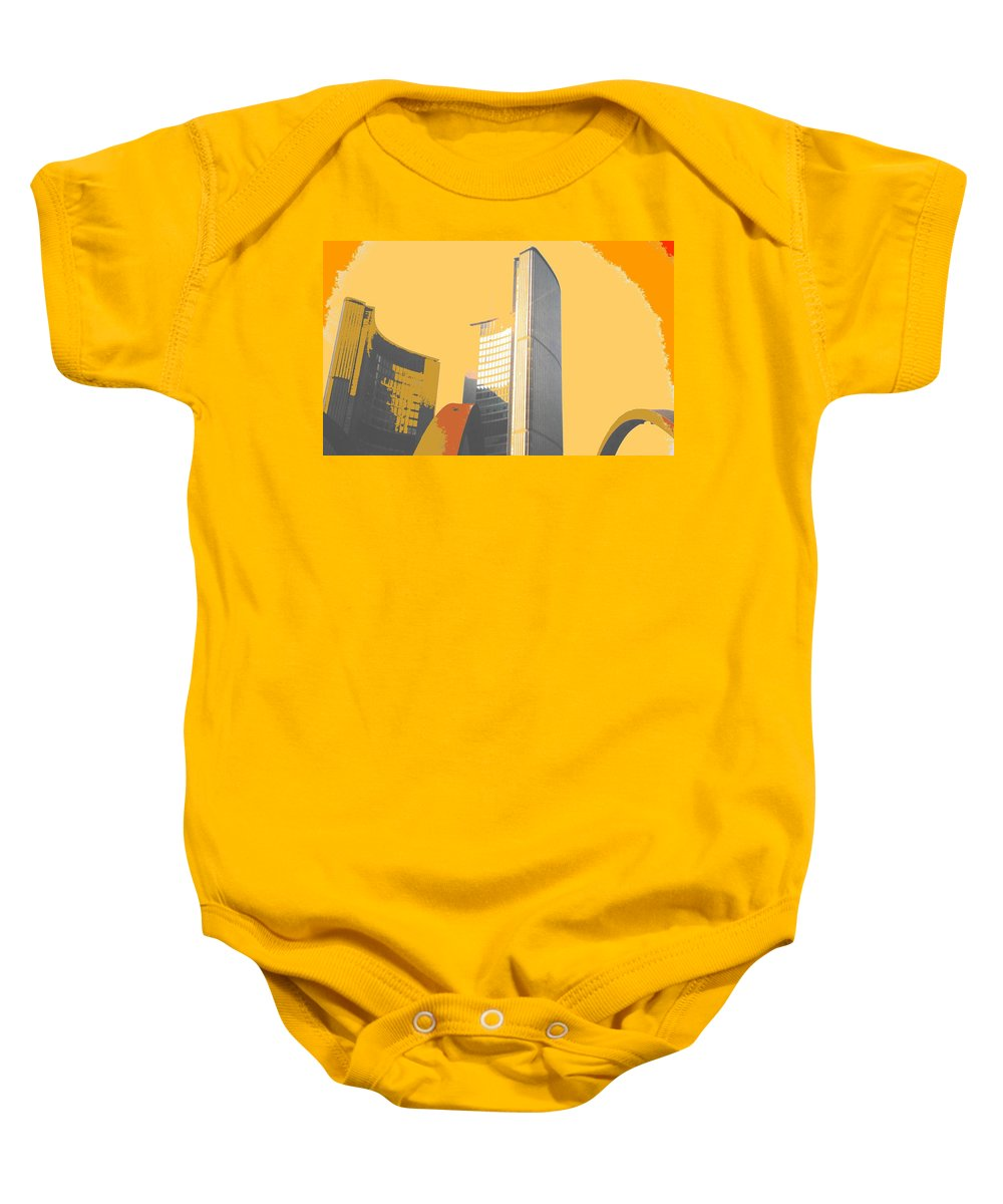 Toronto Baby Onesie featuring the photograph Toronto City Hall Arches by Ian MacDonald