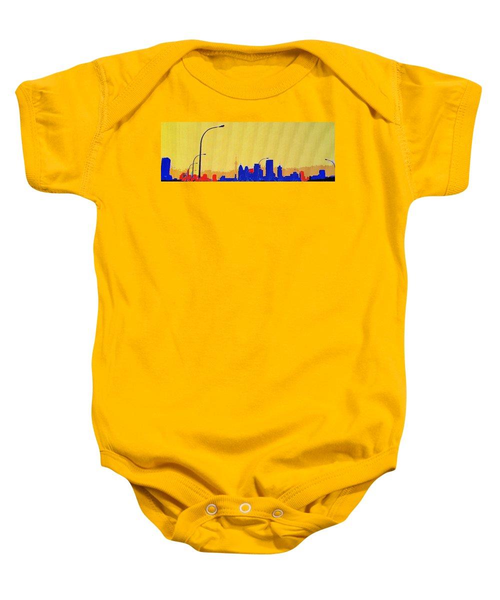 Toronto Baby Onesie featuring the photograph Toronto Lemon Skyline by Ian MacDonald