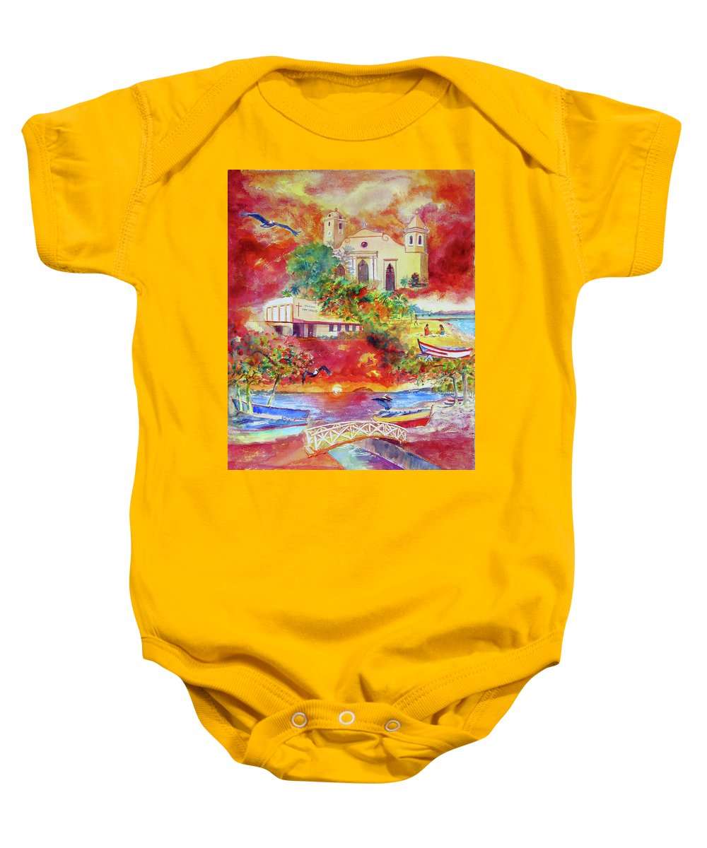 Watercolor Paintings Baby Onesie featuring the painting Tour Around Aguadilla Puerto Rico by Estela Robles