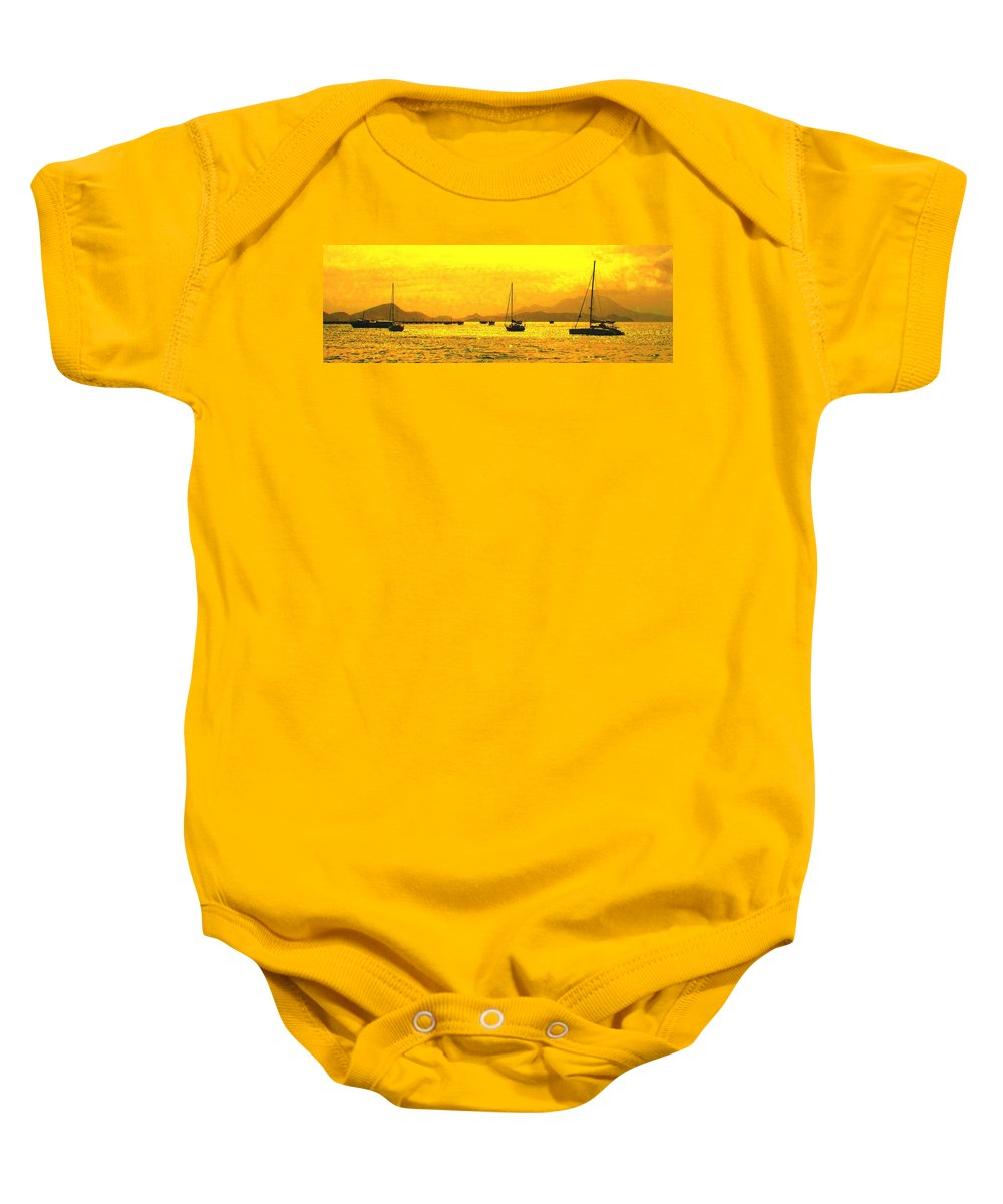 Basseterre Baby Onesie featuring the photograph Towards Nevis by Ian MacDonald
