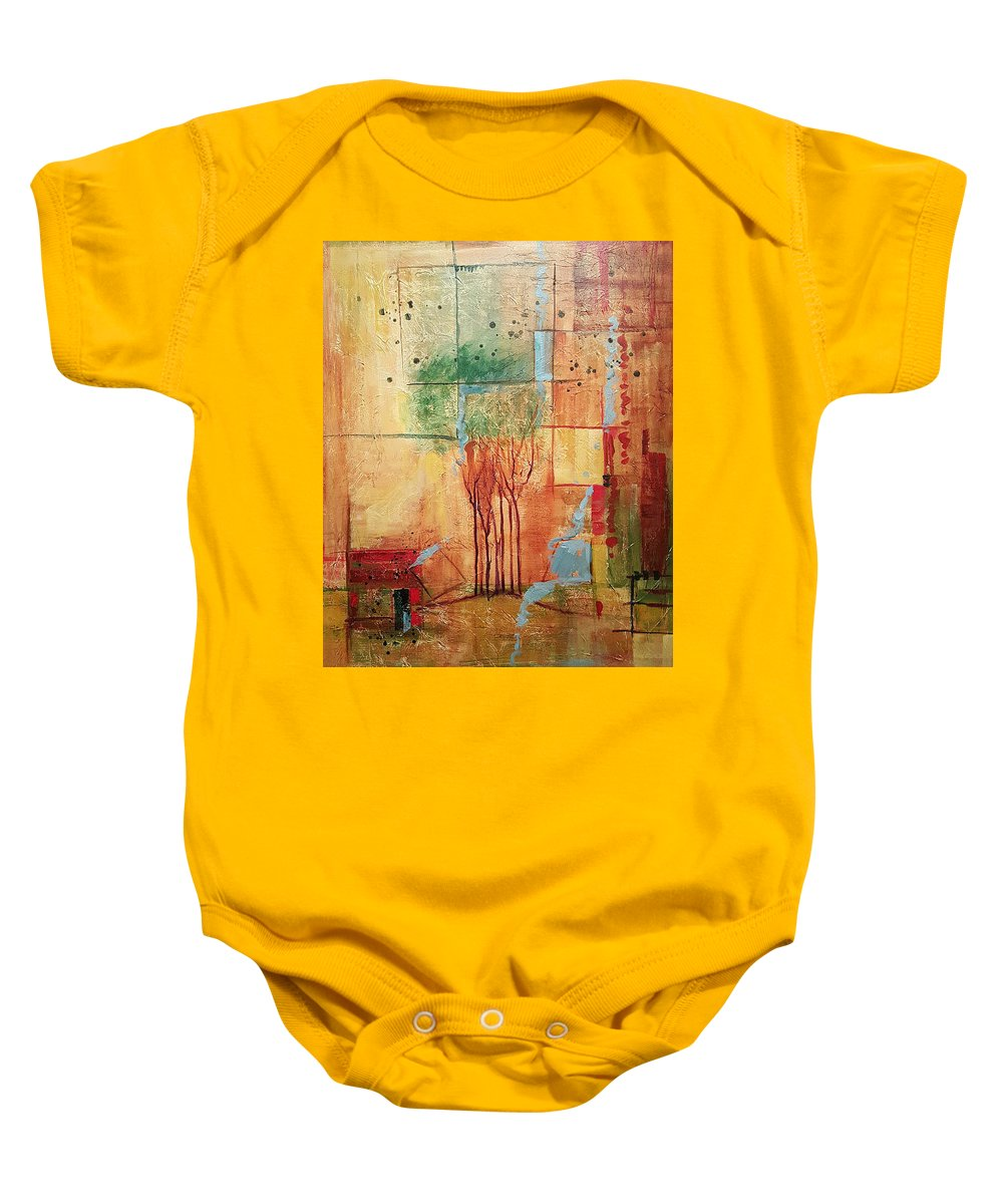 Treeline Abstract Baby Onesie featuring the painting Town Square by Ginger Concepcion