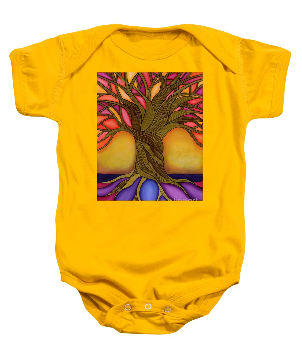 Tree Baby Onesie featuring the painting Tree Of Life by Carla Bank