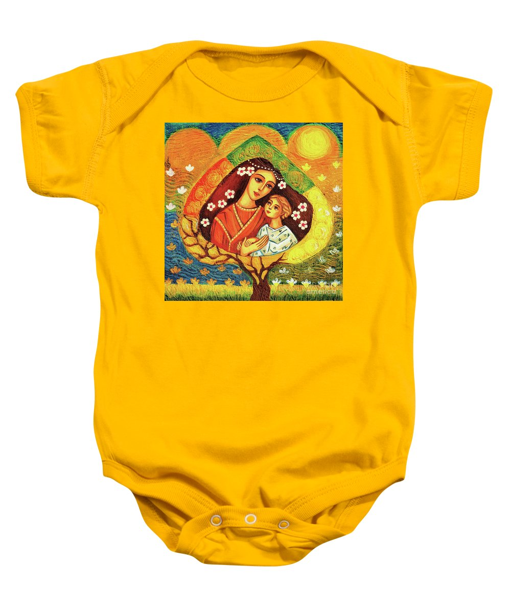 Mother And Child Baby Onesie featuring the painting Tree Of Life II by Eva Campbell