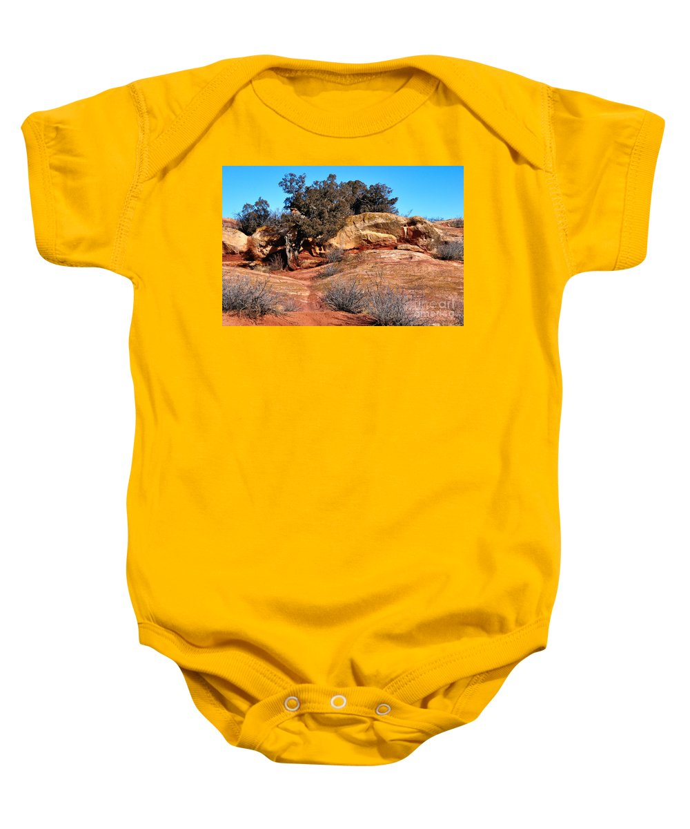 Tree Baby Onesie featuring the photograph Tree On Titan Road by Merrimon Crawford